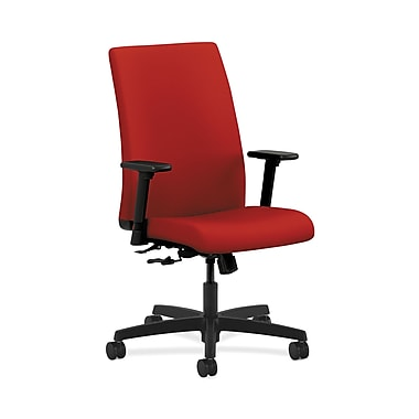 HON® Ignition Mid-Back Task Chair, Center-Tilt, Adjustable Arms, Tomato Fabric