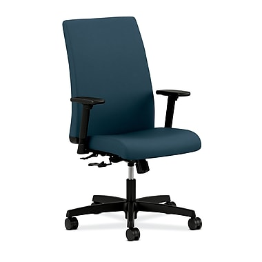 HON Ignition Mid-Back Task Chair Center-Tilt with Adjustable Arms, Cerulean Fabric
