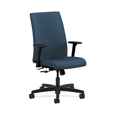HON® Ignition Mid-Back Task Chair, Center-Tilt, Adjustable Arms, Silvertex Vinyl Jet