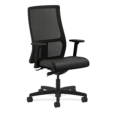 HON® Ignition Mid-Back Mesh Task Chair, Synchro-Tilt, Adjustable Arms, Attire Black Fabric