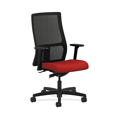 HON® Ignition Mid-Back Mesh Task Chair, Synchro-Tilt, Adjustable Arms, Tomato Fabric