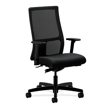 HON Ignition Mid-Back Task Chair, Mesh, Synchro-Tilt, Adjustable Arms, Tectonic Black Fabric