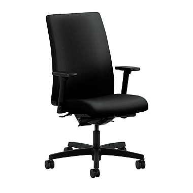 HON Ignition Mid-Back Task Chair, Upholstered, Synchro-Tilt, Back Angle, Adjustable Arms, Confetti Black Fabric