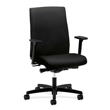HON Ignition Mid-Back Task Chair Adjustable Arms, Black Fabric