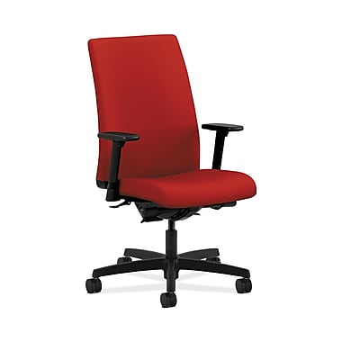 HON® Ignition Mid-Back Task Chair, Synchro-Tilt, Back Angle, Adjustable Arms, Tomato Fabric