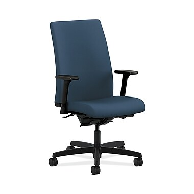 HON® Ignition Mid-Back Task Chair, Synchro-Tilt, Back Angle, Adjustable Arms, Silvertex Vinyl Jet