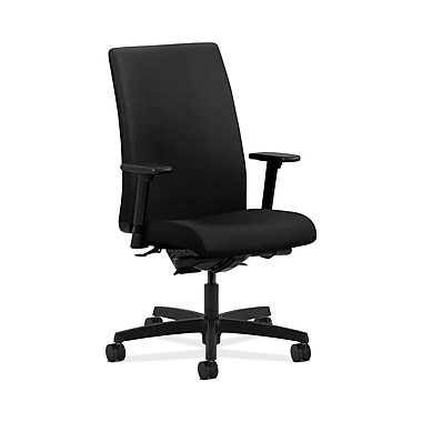 HON® Ignition Mid-Back Task Chair, Synchro-Tilt, Back Angle, Adjustable Arms, Black Fabric