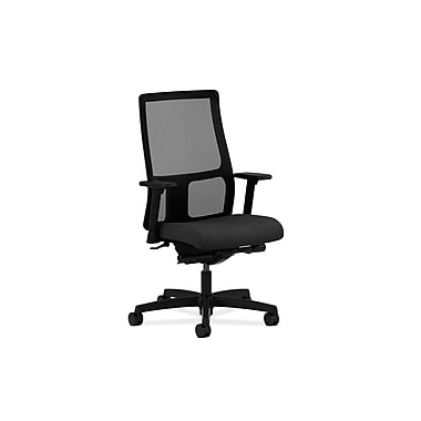 HON Ignition Mid-Back Task Chair with Adjustable Arms, Black Fabric