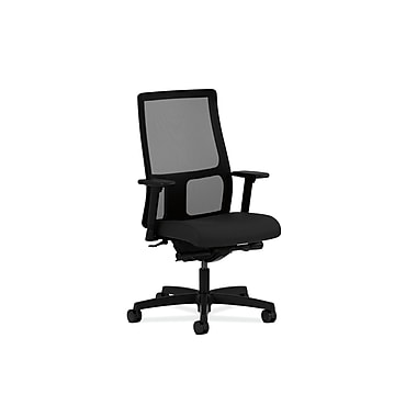 HON Ignition Mid-Back Task Chair, Mesh, Synchro-Tilt, Back Angle, Adjustable Arms, Centurion Black Fabric