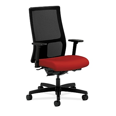 HON® Ignition Mid-Back Mesh Task Chair, Synchro-Tilt, Back Angle, Adjustable Arms, Tomato Fabric