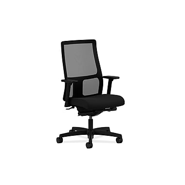 HON Ignition Mid-Back Task Chair, Mesh, Synchro-Tilt, Back Angle, Adjustable Arms, Tectonic Black Fabric