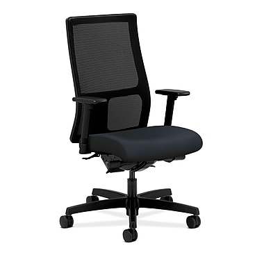 HON® Ignition Mid-Back Mesh Task Chair, Synchro-Tilt, Back Angle, Adjustable Arms, Navy Fabric