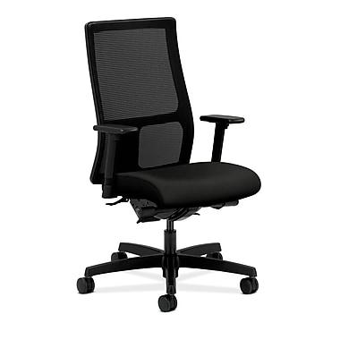 HON® Ignition Mid-Back Mesh Task Chair, Synchro-Tilt, Back Angle, Adjustable Arms, Black Fabric