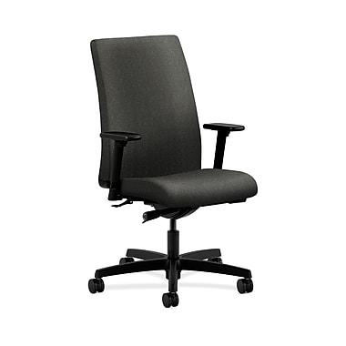HON® Ignition Mid-Back Task Chair, Synchro-Tilt, Adjustable Arms, Grey Fabric