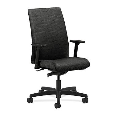 HON® Ignition Mid-Back Task Chair, Synchro-Tilt, Adjustable Arms, Attire Black Fabric