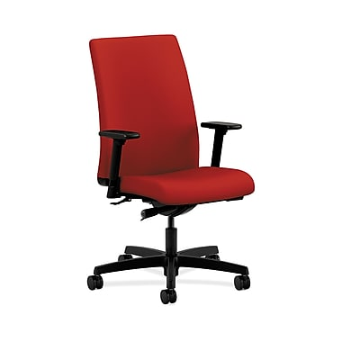 HON® Ignition Mid-Back Task Chair, Synchro-Tilt, Adjustable Arms, Tomato Fabric