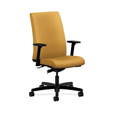 HON® Ignition Mid-Back Task Chair, Synchro-Tilt, Adjustable Arms, Mustard Fabric