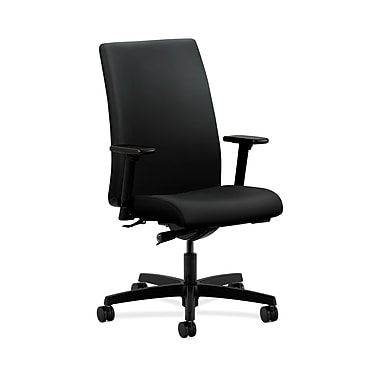HON® Ignition Mid-Back Task Chair, Synchro-Tilt, Adjustable Arms, Contourett Polyurethane Black