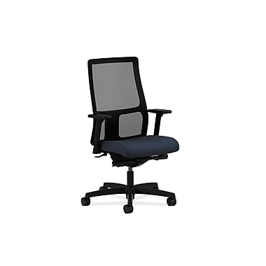 HON Ignition Mid-Back Task Chair Synchro-Tilt with Adjustable, Arms Blue Fabric