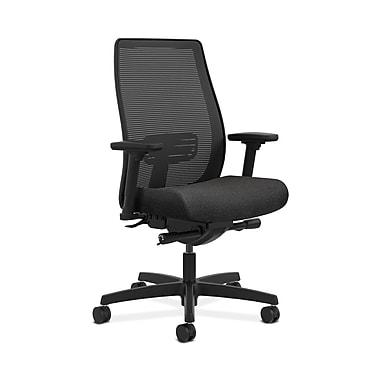 HON® Endorse Mesh Mid-Back Task Chair, Built-In Lumbar, Synchro-Tilt, Seat Glide, Adjustable Arms, Confetti Black Fabric