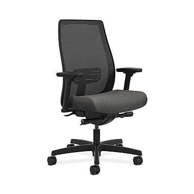HON® Endorse Mesh Mid-Back Task Chair, Built-In Lumbar, Synchro-Tilt, Seat Glide, Adjustable Arms, Grey Fabric