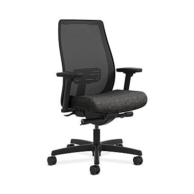 HON® Endorse Mesh Mid-Back Task Chair, Built-In Lumbar, Synchro-Tilt, Seat Glide, Adjustable Arms, Attire Onyx Fabric