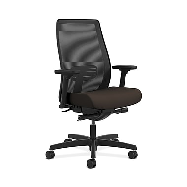 HON® Endorse Mesh Mid-Back Task Chair, Built-In Lumbar, Synchro-Tilt, Seat Glide, Adjustable Arms, Espresso Fabric