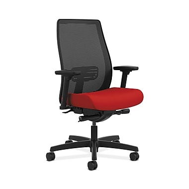 HON® Endorse Mesh Mid-Back Task Chair, Built-In Lumbar, Synchro-Tilt, Seat Glide, Adjustable Arms, Tomato Fabric