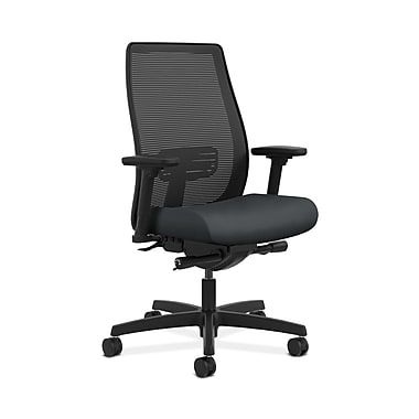 HON® Endorse Mesh Mid-Back Task Chair, Built-In Lumbar, Synchro-Tilt, Seat Glide, Adjustable Arms, Inertia Onyx Fabric
