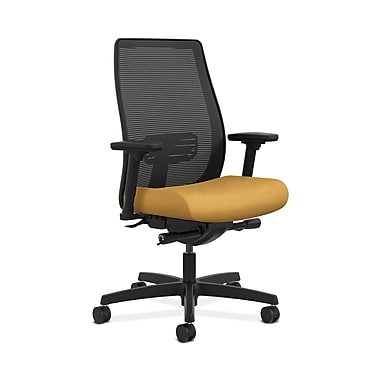 HON® Endorse Mesh Mid-Back Task Chair, Built-In Lumbar, Synchro-Tilt, Seat Glide, Adjustable Arms, Mustard Fabric