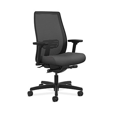 HON® Endorse Mesh Mid-Back Task Chair, Built-In Lumbar, Synchro-Tilt, Seat Glide, Adjustable Arms, Tectonic Charcoal Fabric