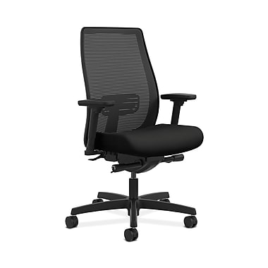 HON® Endorse Mesh Mid-Back Task Chair, Built-In Lumbar, Synchro-Tilt, Seat Glide, Adjustable Arms, Contourett Polyurethane Black