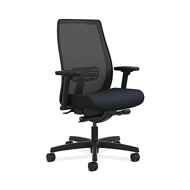 HON® Endorse Mesh Mid-Back Task Chair, Built-In Lumbar, Synchro-Tilt, Seat Glide, Adjustable Arms, Navy Fabric