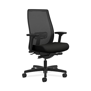 HON® Endorse Mesh Mid-Back Task Chair, Built-In Lumbar, Synchro-Tilt, Seat Glide, Adjustable Arms, Whisper Vinyl Black