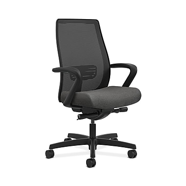 HON® Endorse Mesh Mid-Back Task Chair, Built-In Lumbar, Synchro-Tilt, Seat Glide, Fixed Arms, Grey Fabric