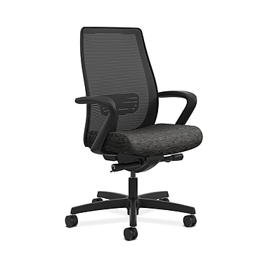 HON® Endorse Mesh Mid-Back Task Chair, Built-In Lumbar, Synchro-Tilt, Seat Glide, Fixed Arms, Attire Onyx Fabric