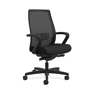 HON® Endorse Mesh Mid-Back Task Chair, Built-In Lumbar, Synchro-Tilt, Seat Glide, Fixed Arms, Centurion Black Fabric