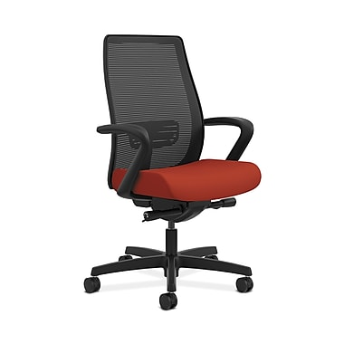 HON® Endorse Mesh Mid-Back Task Chair, Built-In Lumbar, Synchro-Tilt, Seat Glide, Fixed Arms, Poppy Fabric
