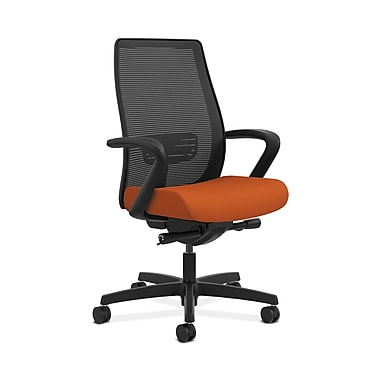 HON® Endorse Mesh Mid-Back Task Chair, Built-In Lumbar, Synchro-Tilt, Seat Glide, Fixed Arms, Tangerine Fabric