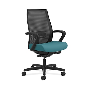 HON® Endorse Mesh Mid-Back Task Chair, Built-In Lumbar, Synchro-Tilt, Seat Glide, Fixed Arms, Glacier Fabric