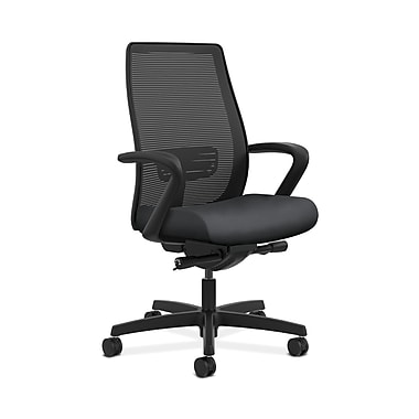 HON® Endorse Mesh Mid-Back Task Chair, Built-In Lumbar, Synchro-Tilt, Seat Glide, Fixed Arms, Inertia Onyx Fabric