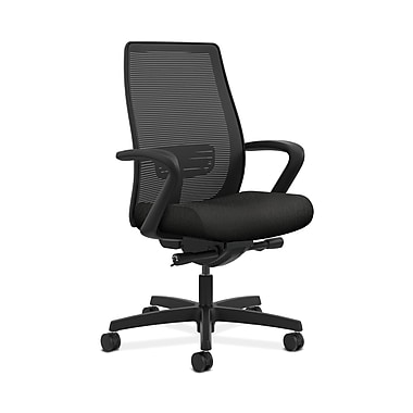 HON® Endorse Mesh Mid-Back Task Chair, Built-In Lumbar, Synchro-Tilt, Seat Glide, Fixed Arms, Tectonic Black Fabric