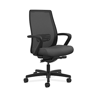 HON® Endorse Mesh Mid-Back Task Chair, Built-In Lumbar, Synchro-Tilt, Seat Glide, Fixed Arms, Tectonic Charcoal Fabric