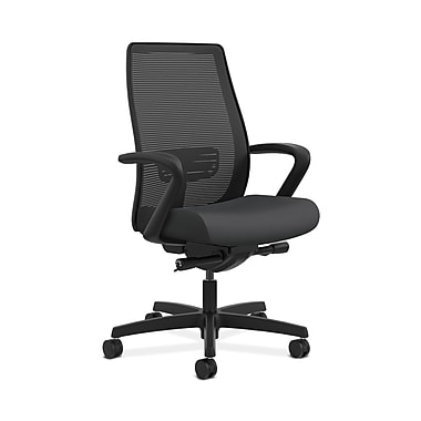 HON® Endorse Mesh Mid-Back Task Chair, Built-In Lumbar, Synchro-Tilt, Seat Glide, Fixed Arms, Silvertex Vinyl Carbon