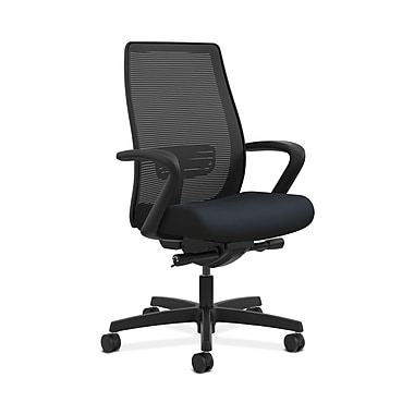 HON® Endorse Mesh Mid-Back Task Chair, Built-In Lumbar, Synchro-Tilt, Seat Glide, Fixed Arms, Navy Fabric