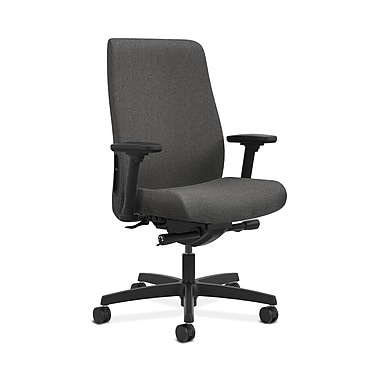 HON® Endorse Mid-Back Task Chair, Built-In Lumbar, Adjustable Arms, Grey Fabric