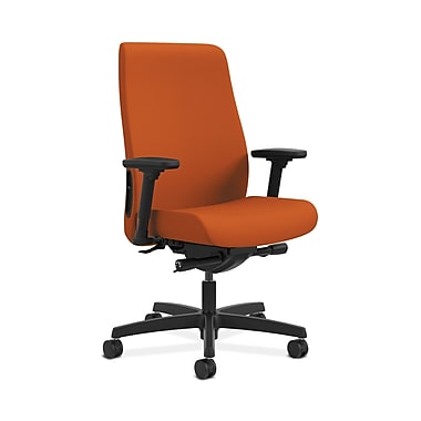 HON® Endorse Mid-Back Task Chair, Built-In Lumbar, Adjustable Arms, Tangerine Fabric