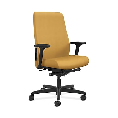 HON® Endorse Mid-Back Task Chair, Fabric Outer Back, Built-In Lumbar, Synchro-Tilt, Seat Glide, Adjustable Arms, Mustard Fabric