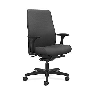 HON® Endorse Mid-Back Task Chair, Built-In Lumbar, Adjustable Arms, Tectonic Charcoal Fabric