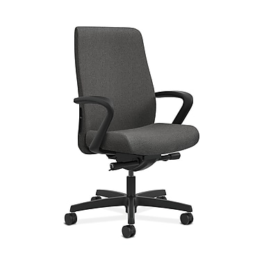 HON® Endorse Mid-Back Task Chair, Fabric Outer Back, Built-In Lumbar, Synchro-Tilt, Seat Glide, Fixed Arms, Grey Fabric